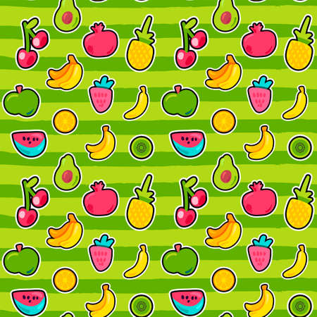 Sweet berries and fruits vector seamless pattern.