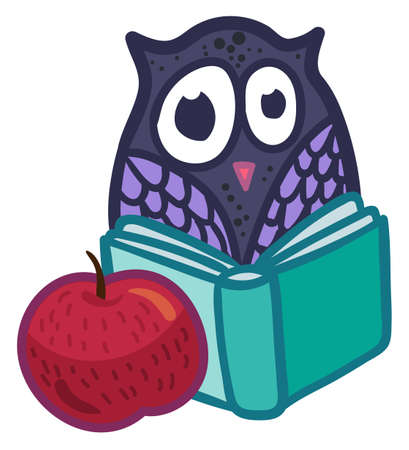 School sticker design with owl reading book. Template cute badge for education and back to school concept. 일러스트
