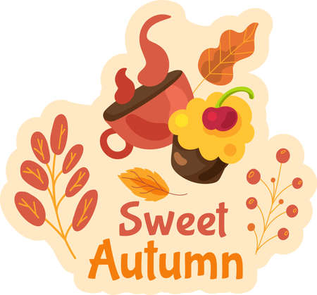 Sweet autumn label isolated. Cute seasonal sticker design with yellow leaves on white background.