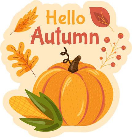Hello autumn sticker with lettering for typography pr seasonal sale flyer design.
