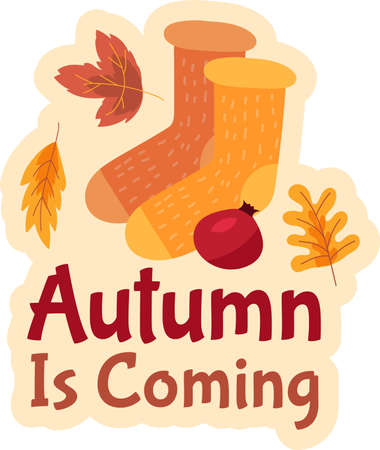 Autumn is coming sticker design for seasonal sale or discount flyers design. 일러스트