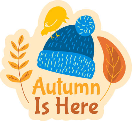 Autumn is here. Cute badge with knitted hat and yellow leaves on white background. 일러스트
