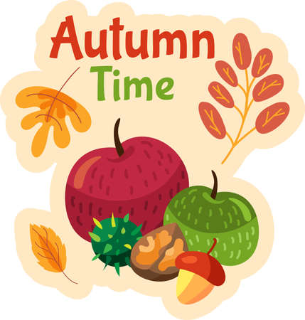 Autumn time label with fresh fruits, vegetables and yellow leaves. Seasonal harvest sticker. 일러스트