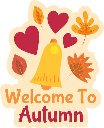 Welcome to autumn sticker design, cute seasonal decorative badge or label for autumn sale event.