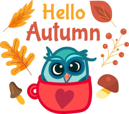 Cartoon autumn sticker template with owl in cute cup. Creative seasonal icon design with yellow leaves and mushroom on background. Adorable illustration