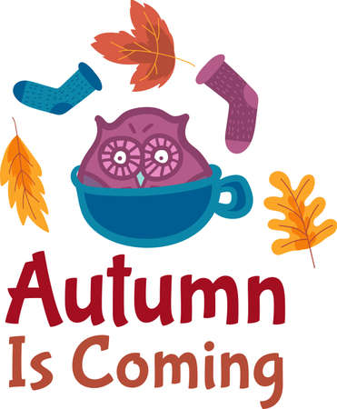 Autumn is coming sticker design with cute cartoon owl and knitted socks on background. Autumn template for greeting card or sale flyers. Doodle illustration