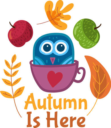Funny autumn sticker with cartoon owl, fruits and yellow leaves on background. Cute label for greeting card design. Welcome autumn illustration Ilustracja