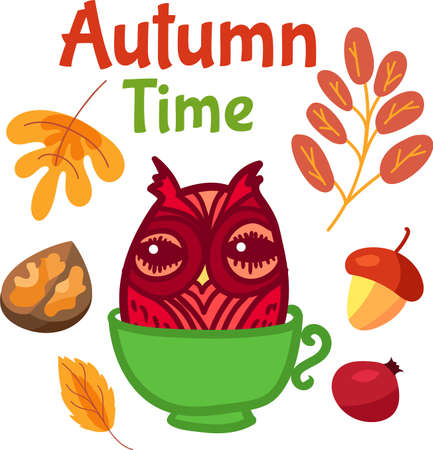 Cute owl in cup for autumn label design. Funny sticker with hello autumn concept. Funny cartoon bird character for seasonal sale banner or flyer. illustration