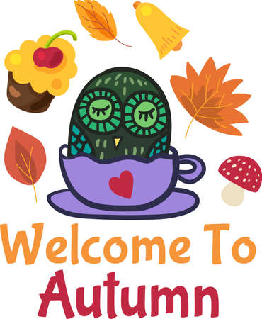 Welcome to autumn cute seasonal sticker design. Funny badge with sleeping owl in cup for hello autumn concept. Cartoon label for card or poster. illustration Ilustracja