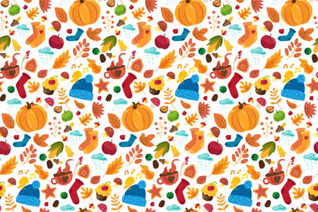 Autumn pattern with cute fall symbols ornament: knitted socks, hat, pumpkin, tea cups on white background. Funny template for textile or wrapping paper. illustration