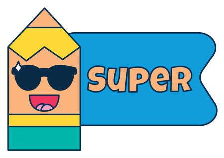 Super teacher reward sticker, cute cartoon school award with smiling pencil. Encouragement sign for elementary or primary school pupils. illustration