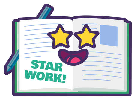 Teacher school reward, star work sticker for award. Cute good job appreciation sign for student at school or kindergarten. Cartoon  illustration