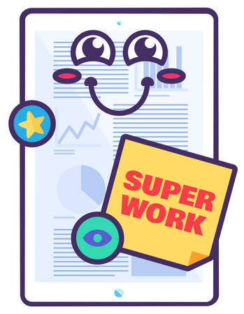 Super work appreciation sign for school reward. Essay with positive award from teacher. Creative sticker for school evaluation. Cartoon illustration