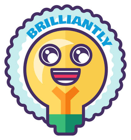 Brilliant sticker for homework reward in school. Cute motivation sign for teacher in primary school or kindergarten. Funny label with cartoon light bulb. illustration