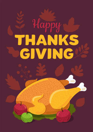 Happy Thanksgiving day flat vector greeting card template. Holiday turkey illustration Ilustração