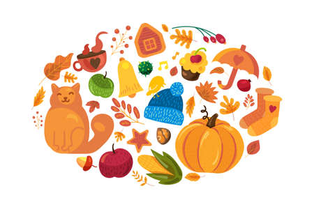 Cartoon autumn background with fall symbols on white. Hello autumn poster template. Cute fall elements: pumpkin, yellow leaves, umbrella for poster or banner design. Vector illustration