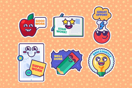 School awards set of cartoon stickers reward signs. Cute marks for teachers. Collection of funny labels with smiling faces for elementary school. Vector illustration