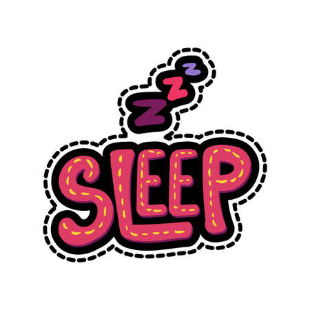 Zzz, sleep lettering stitched frame illustration. Good night dash line sticker. Hand drawn patch Ilustracja