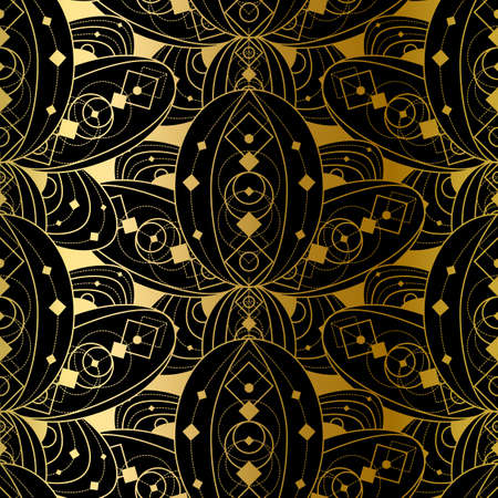 Golden Seamless Pattern Design With Gradient Geometric Ornament, Abstract Fashion Print on Black Background. Template Vector Decoration, Beautiful Luxury Vintage Style. Ilustração