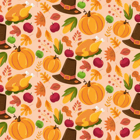 Autumn seamless pattern, cute fall cartoon texture design with halloween and thanksgiving day symbols. Funny background for seasonal wallpaper. Vector illustration
