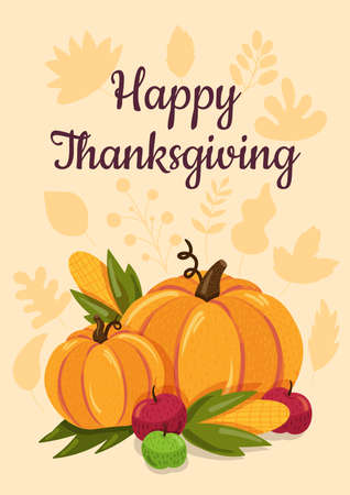 Happy Thanksgiving flat illustration with calligraphic inscription. American holiday greeting card