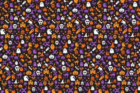 Seamless halloween pattern with pumpkins, witch hats, skulls, bats, bones and ghosts. Cute cartoon background for autumn holiday concept. Vector illustration