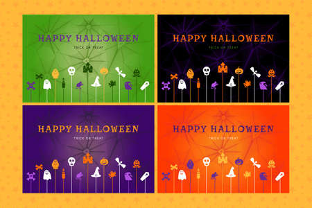 Set of halloween backgrounds for posters, greeting cards, web banners and party invitations. Happy halloween trick or treat concept. Template vector illustration Ilustração