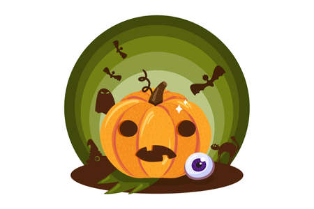 Scary pumpkin with funny face traditional halloween holiday symbol icon isolated on white background. Cute sticker for halloween celebration. Vector illustration Иллюстрация