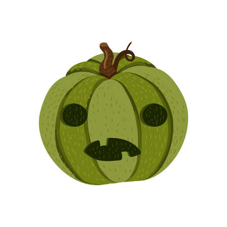 Halloween pumpkin isolated of white background. Creepy and evil face cut on green pumpkin for autumn holiday decoration. Cute cartoon vector illustration