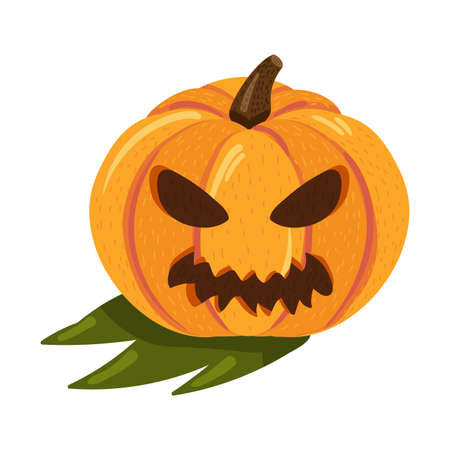 Halloween pumpkin with angry face for autumn holiday celebration. Evil and scary face silhouette for seasonal party or web element. Cartoon vector illustration Ilustração