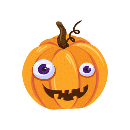 Halloween pumpkin character with funny smiling face isolated on white background. Decorative element for seasonal autumn holiday. Cartoon vector illustration