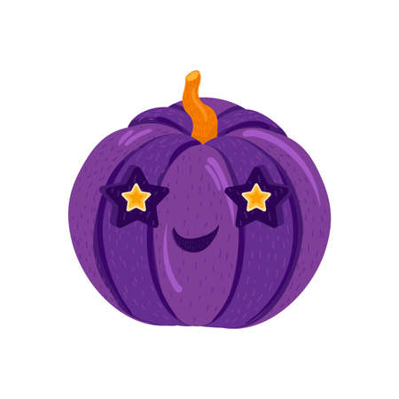Cute halloween pumpkin for autumn decorations. Symbol of happy holiday. Carving vegetable for decoration. Design for autumn october party. Cartoon vector illustration. Ilustração