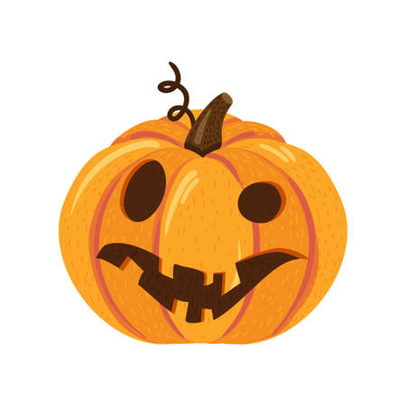 Halloween pumpkin with curved scary face for holiday celebration. Traditional autumn party element. Pumpkin web icon or decorative symbol. Vector illustration