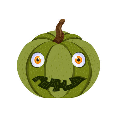 Green pumpkin with scare smile for halloween holiday. Traditional halloween symbol for party or greeting card, invitation design. Cartoon vector illustration