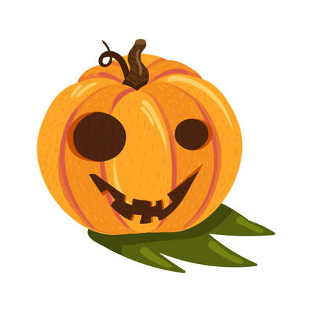 Halloween pumpkin with happy face isolated on white background. Cute element for party decoration, shopping sale event or web design. Vector cartoon Illustration