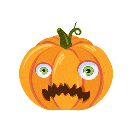 Scared pumpkin for halloween party or web design. Cute pumpkin with cartoon face on white background isolated for greeting card or invitation. Vector illustration