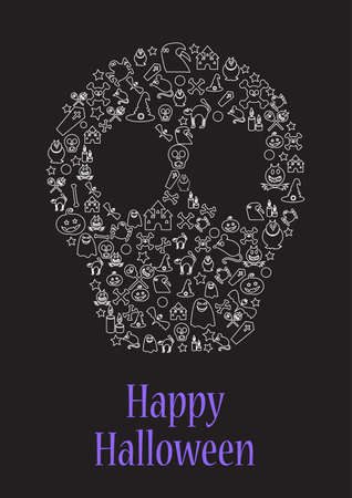 Happy halloween greeting card or flyer with skull. Creative postcard design or advertisement background for party event. Doodle linear vector illustration