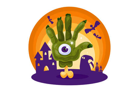 Halloween poster with zombie hand at haunted house background. Scary element for holiday card, flyers, party invitations and posters design. Vector illustration