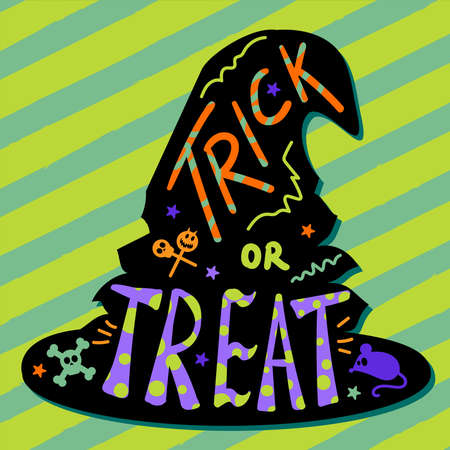 Halloween traditional witch hat for greeting card or festive poster, party invitation or web design. Holiday symbol on white background. Vector illustration