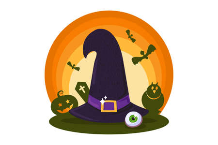 Halloween traditional witch hat for greeting card or festive poster, party invitation or web design. Holiday symbol on white background. Vector illustration Ilustração