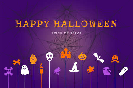 Happy halloween trick or treat banner for party poster background with pumpkins, witches, spiders and bats. Colorful graphic design of october event. Vector illustration Ilustracja