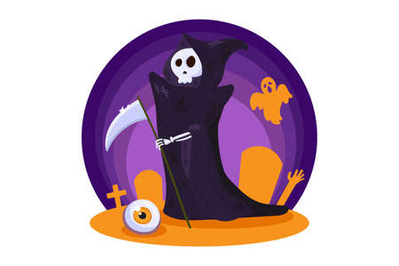 Death character for Halloween party night decoration. Template design element with Halloween symbol for card, invitation or background. Flat vector illustration