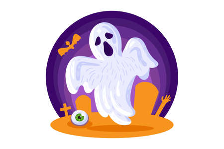Halloween card design element with scary ghost