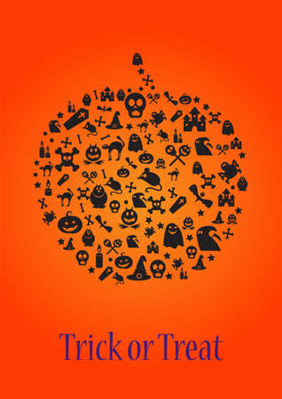 Trick or treat halloween template for card, poster