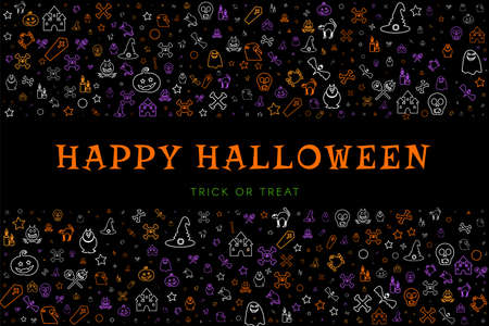Black poster background with doodles for halloween