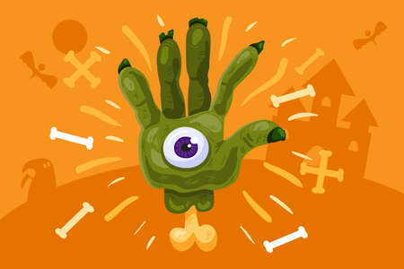 Scary halloween background with green zombie hand Ilustracja
