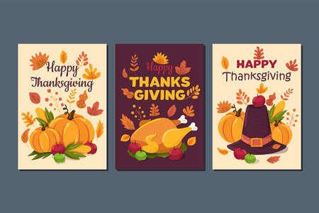 Happy thanksgiving, traditional holiday greeting cards set