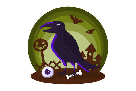 Halloween element with raven for card, invitation