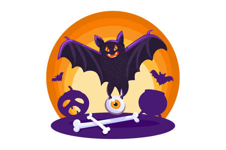 Halloween template with bat for invitation or card Ilustracja