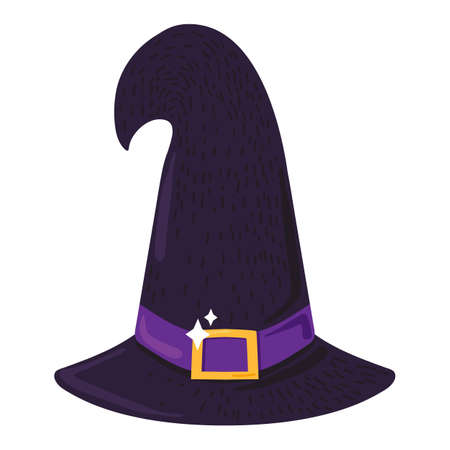 Witch hat sign for Halloween holiday isolated on white background. Magic and wizard symbol. Witchery concept. Halloween icon. Flat vector illustration